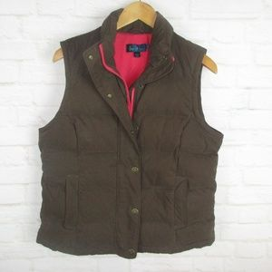 Boden Brown and Pink Goose Down Puffer Vest
